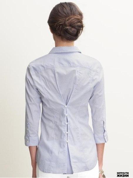 Если рубашка вам велика, а носить очень хочется - простой и красивый способ сделать нужный вам размер. - HandMade и полезные сов